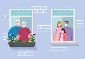 Quédate en casa banner con familyies en la ventana. vector