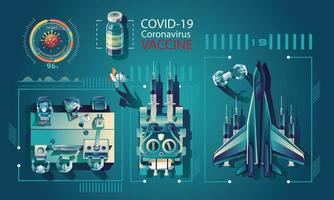 Medical team and scientist have discovered the COVID-19 vaccine, laboratory test, syringe, a vaccine vial, working on the test. vaccine development Ready for treatment illustration, vector flat design
