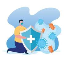 fight against coronavirus concept with woman wearing a face mask  and holding a shield vector