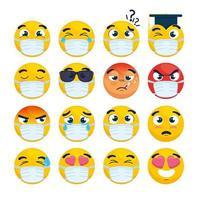 set of emojis wearing face masks vector