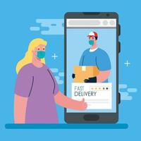 online delivery service concept during coronavirus vector