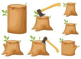 Trunk stump vector design illustration set isolated on white background