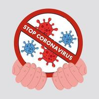 hands with icon of coronavirus cells in a prohibited sign vector