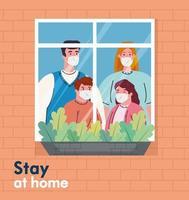 quédate en casa banner con familia en la ventana vector