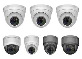 Ilustración de diseño de vector de cámara de vigilancia aislado sobre fondo blanco