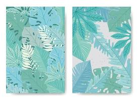 Cute tropical leaves background set vector