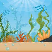 underwater background with algae and coral reef vector