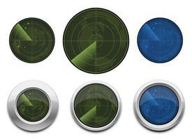 Conjunto de ilustración de diseño de vector de radar realista aislado sobre fondo blanco