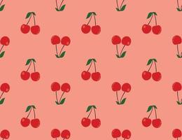 Red cherry pattern, light red background vector