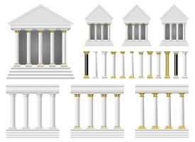 Antique columns and temple vector design illustration set isolated on white background
