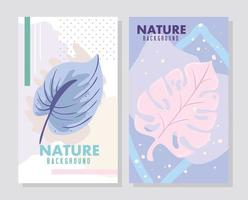 Pastel color nature card set vector
