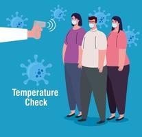 control de temperatura con termómetro infrarrojo digital para la pandemia de coronavirus vector