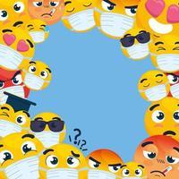 Emojis wearing face masks background vector