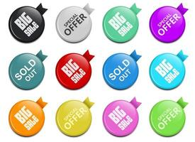 Glossy sale button vector design illustration set isolated on white background