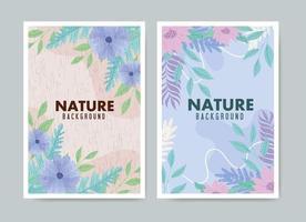 juego de tarjetas de naturaleza de color pastel vector