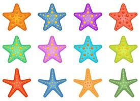 Conjunto de ilustración de diseño de vector de paquete de estrellas de mar aislado sobre fondo blanco