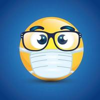 Emoji with glasses wearing a face mask vector
