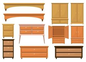 Retro wooden bedroom furniture vector design illustration set isolated on white background