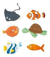 conjunto de animales marinos vector