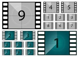 Movie countdown vector design illustration set isolated on white background