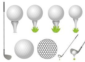 Ilustración de diseño de vector de pelota de golf y putter aislado sobre fondo blanco