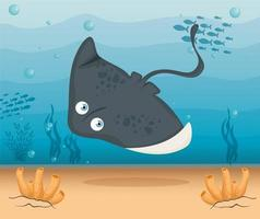 stingray in the ocean, sea world dweller, cute underwater creature vector