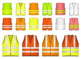 Safety vest vector design illustration set isolated on white background
