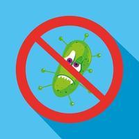 Cartoon coronavirus characters with forbidden sign vector