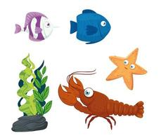 Sea life icon set vector