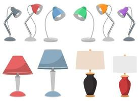 Table lamp vector design illustration set isolated on white background