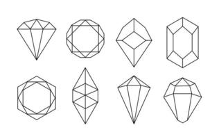 White Hand Drawn Crystals Vector Set
