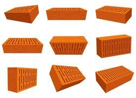 Conjunto de ilustración de diseño de vector de construcción de pared de ladrillo aislado sobre fondo blanco