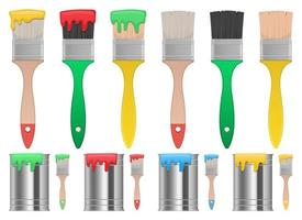 Paint brush and can vector design illustration set isolated on white background
