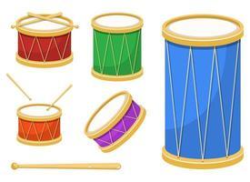 Conjunto de ilustración de diseño de vector de tambor elegante aislado sobre fondo blanco