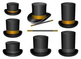 Magician hat and stick vector design illustration set isolated on white background