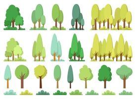 Conjunto de ilustración de diseño de vector de conjunto de árbol aislado sobre fondo blanco