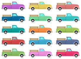 Retro pickup vector design illustration set isolated on white background