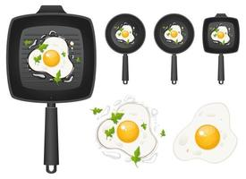 Fried egg in pan vector design illustration set isolated on white background