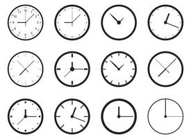 Conjunto de ilustración de diseño de vector de reloj aislado sobre fondo