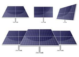 Conjunto de ilustración de diseño de vector de panel solar aislado sobre fondo blanco