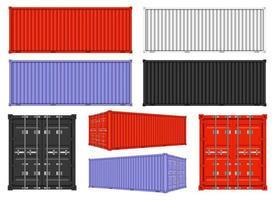 Contenedores de carga desde diferentes puntos de vista aislado sobre fondo blanco. vector