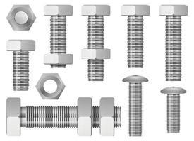 Hex bolt vector design illustration set isolated on white background