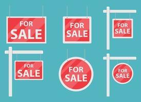 For sale house sign vector design illustration set isolated on blue background