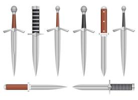 Realistic dagger vector design illustration set isolated on white background