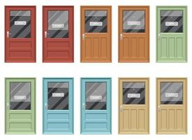 Shop door with open and closed sign vector design illustration set isolated on white background