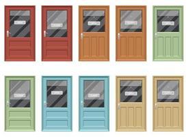 Puerta de la tienda con signo abierto y cerrado conjunto de ilustraciones de diseño vectorial aislado sobre fondo blanco. vector
