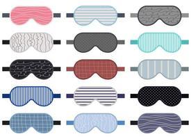 Conjunto de ilustración de diseño de vector de máscara para dormir aislado sobre fondo blanco