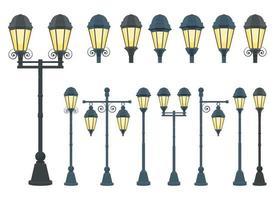 Vintage street lamp vector design illustration set isolated on white background