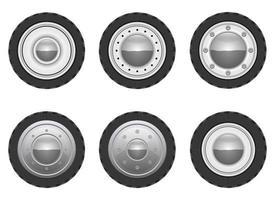 Retro car wheel vector design illustration set isolated on white background