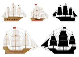 Conjunto de ilustración de diseño de vector de barco vintage de madera aislado sobre fondo blanco